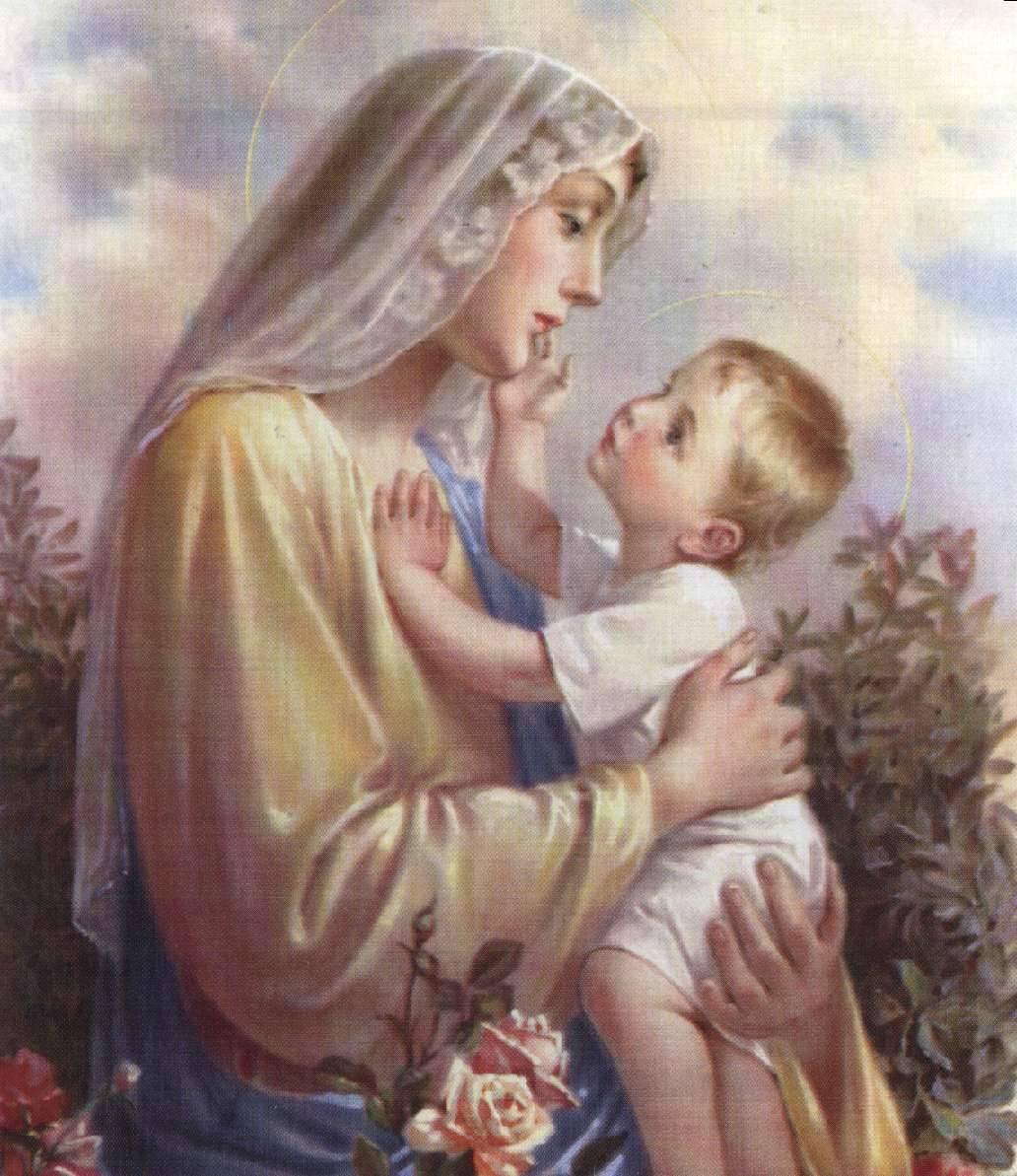 Santa María y el niño Jesús.